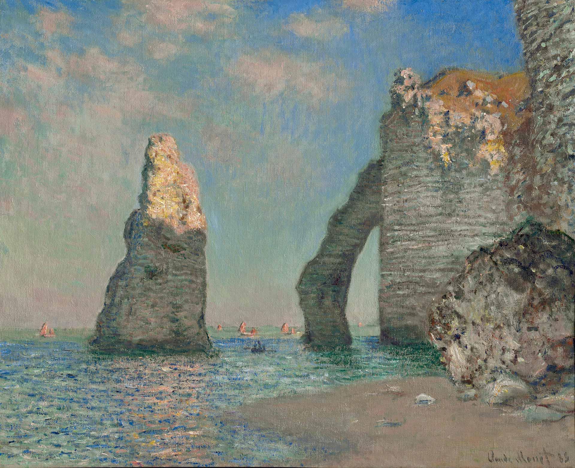 Monet, scogliere a etretat, 1885
